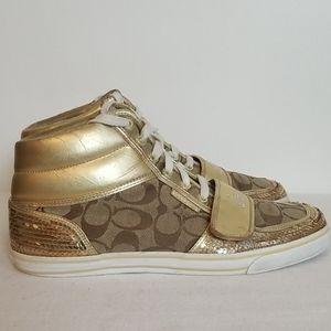 Coach Mistie Gold Sequin Hi Top Sneaker
